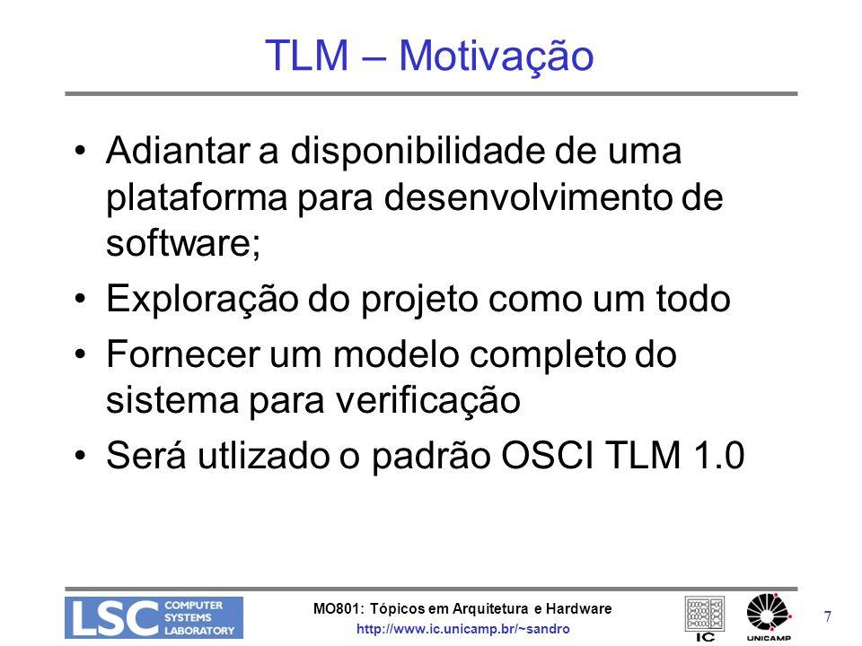 MO801: Tópicos em Arquitetura e Hardware http://www.ic.unicamp.br/~sandro 7 TLM – Motivação Adiantar a disponibilidade de uma plataforma para desenvol
