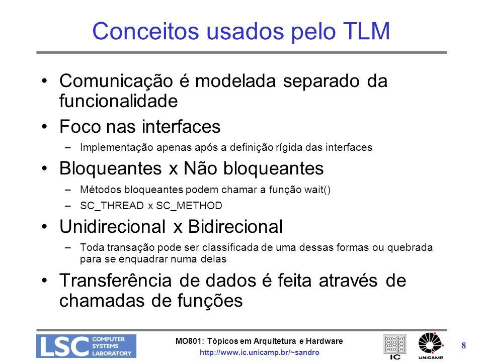 MO801: Tópicos em Arquitetura e Hardware http://www.ic.unicamp.br/~sandro 8 Conceitos usados pelo TLM Comunicação é modelada separado da funcionalidad