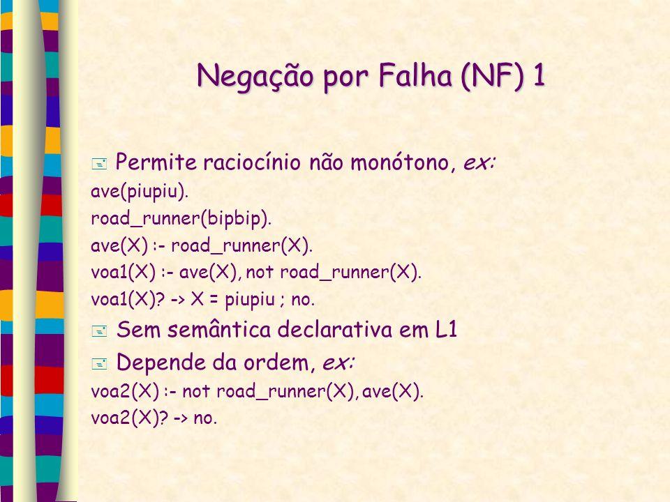 Negação por Falha (NF) 1 Permite raciocínio não monótono, ex: ave(piupiu). road_runner(bipbip). ave(X) :- road_runner(X). voa1(X) :- ave(X), not road_