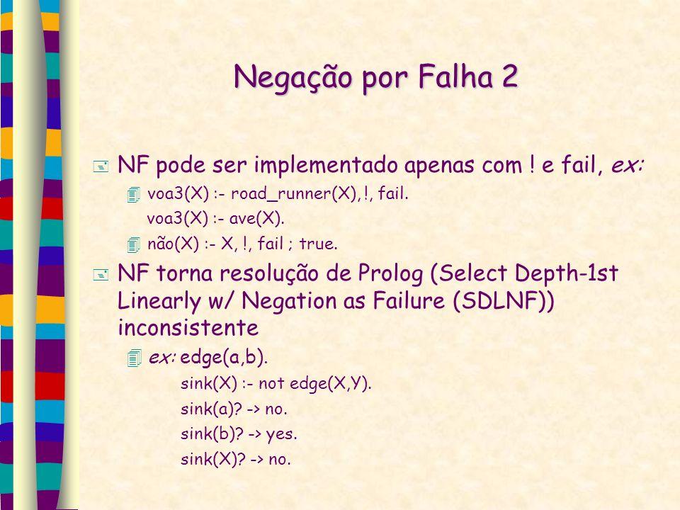 Negação por Falha 2 NF pode ser implementado apenas com ! e fail, ex: voa3(X) :- road_runner(X), !, fail. voa3(X) :- ave(X). não(X) :- X, !, fail ; tr