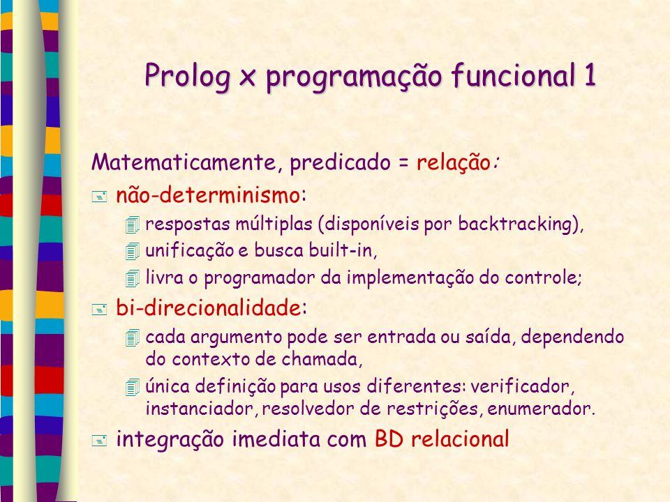 Prolog x programação funcional 1 Matematicamente, predicado = relação: não-determinismo: respostas múltiplas (disponíveis por backtracking), unificação e busca built-in, livra o programador da implementação do controle; bi-direcionalidade: cada argumento pode ser entrada ou saída, dependendo do contexto de chamada, única definição para usos diferentes: verificador, instanciador, resolvedor de restrições, enumerador.