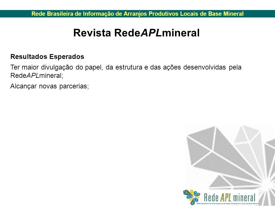 Rede Brasileira de Informação de Arranjos Produtivos Locais de Base Mineral Resultados Esperados Ter maior divulgação do papel, da estrutura e das ações desenvolvidas pela RedeAPLmineral; Alcançar novas parcerias; Revista RedeAPLmineral