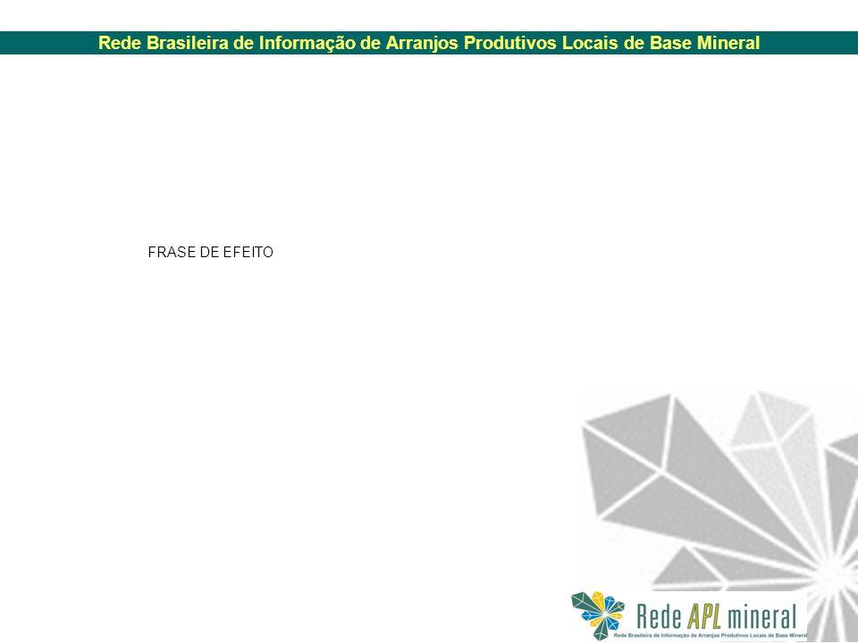 Rede Brasileira de Informação de Arranjos Produtivos Locais de Base Mineral FRASE DE EFEITO