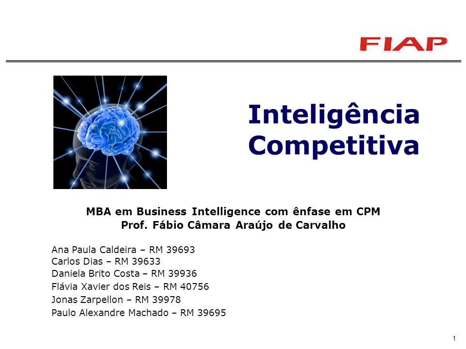 Inteligência Competitiva – Prof. Fábio Câmara Araújo de Carvalho1 Inteligência Competitiva MBA em Business Intelligence com ênfase em CPM Prof. Fábio