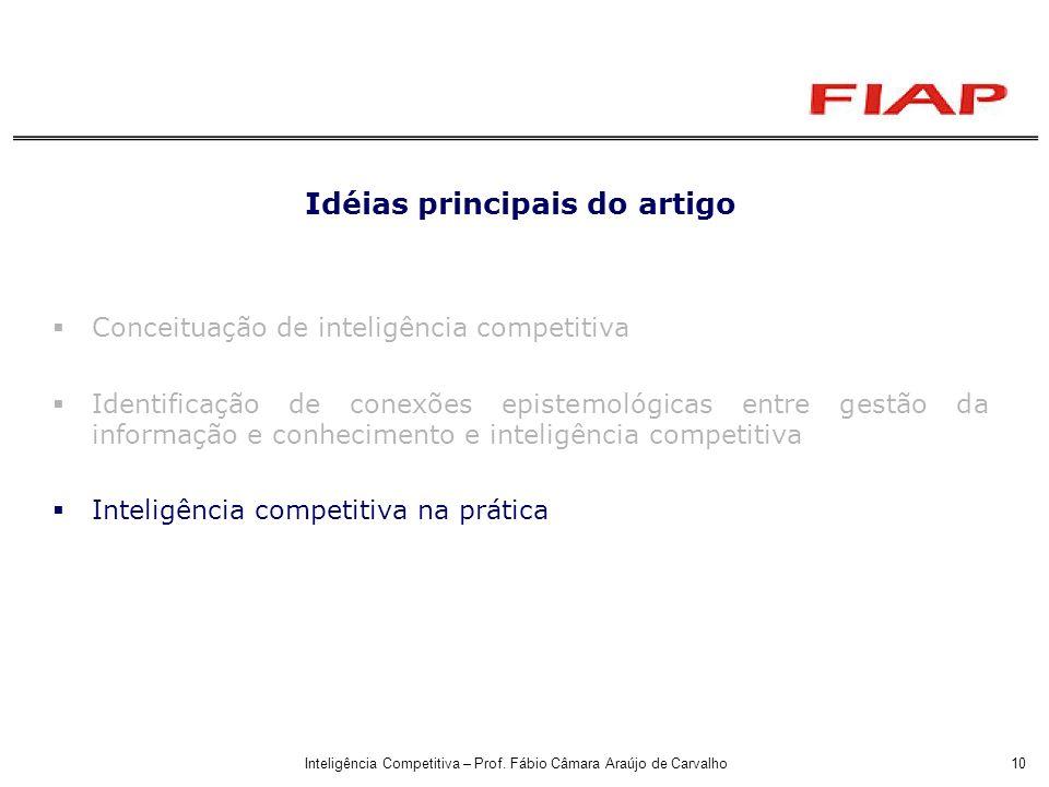 Inteligência Competitiva – Prof. Fábio Câmara Araújo de Carvalho10 Idéias principais do artigo Conceituação de inteligência competitiva Identificação