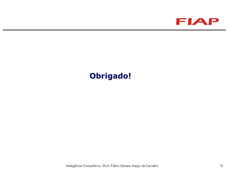 Inteligência Competitiva – Prof. Fábio Câmara Araújo de Carvalho13 Obrigado!