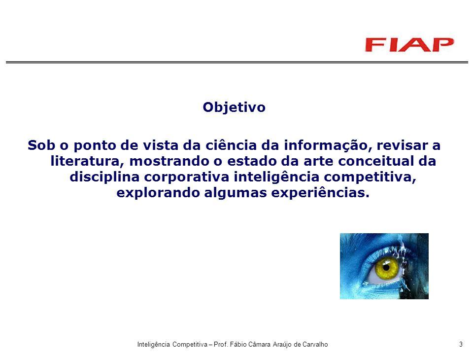 Inteligência Competitiva – Prof. Fábio Câmara Araújo de Carvalho3 Objetivo Sob o ponto de vista da ciência da informação, revisar a literatura, mostra