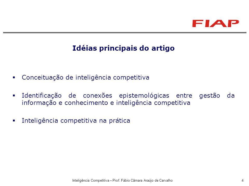 Inteligência Competitiva – Prof. Fábio Câmara Araújo de Carvalho4 Idéias principais do artigo Conceituação de inteligência competitiva Identificação d