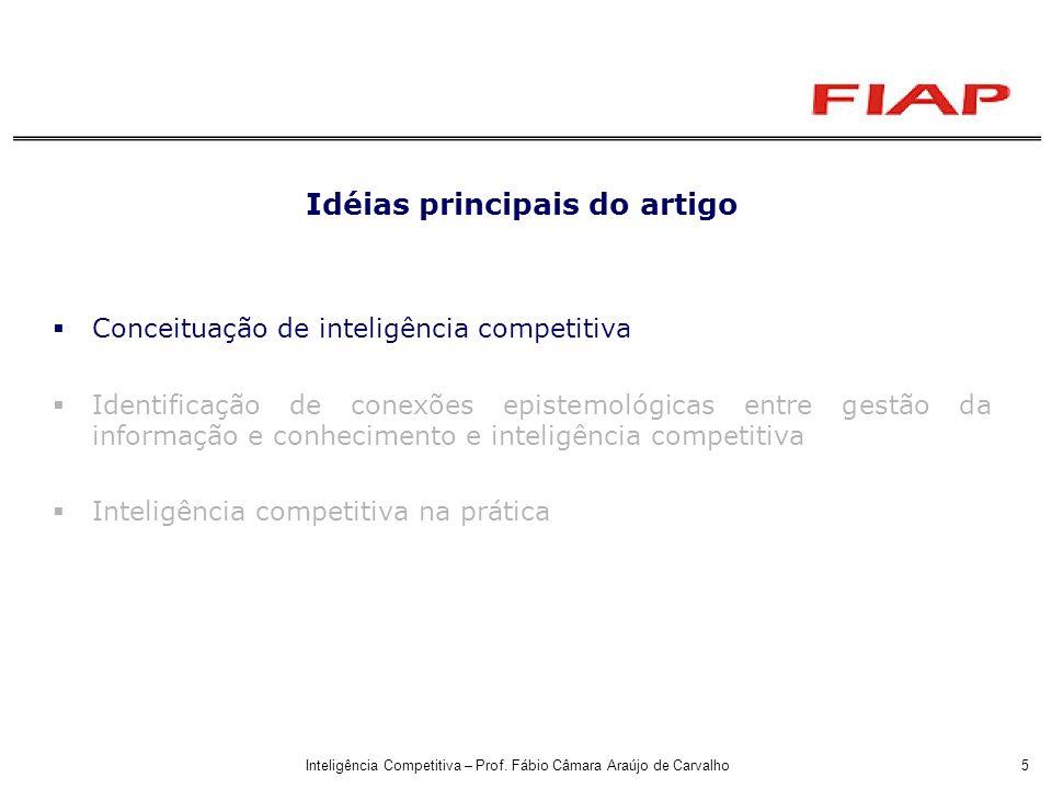 Inteligência Competitiva – Prof. Fábio Câmara Araújo de Carvalho5 Idéias principais do artigo Conceituação de inteligência competitiva Identificação d