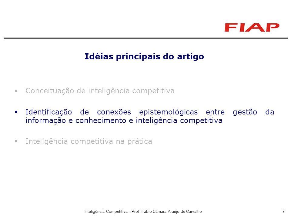 Inteligência Competitiva – Prof. Fábio Câmara Araújo de Carvalho7 Idéias principais do artigo Conceituação de inteligência competitiva Identificação d
