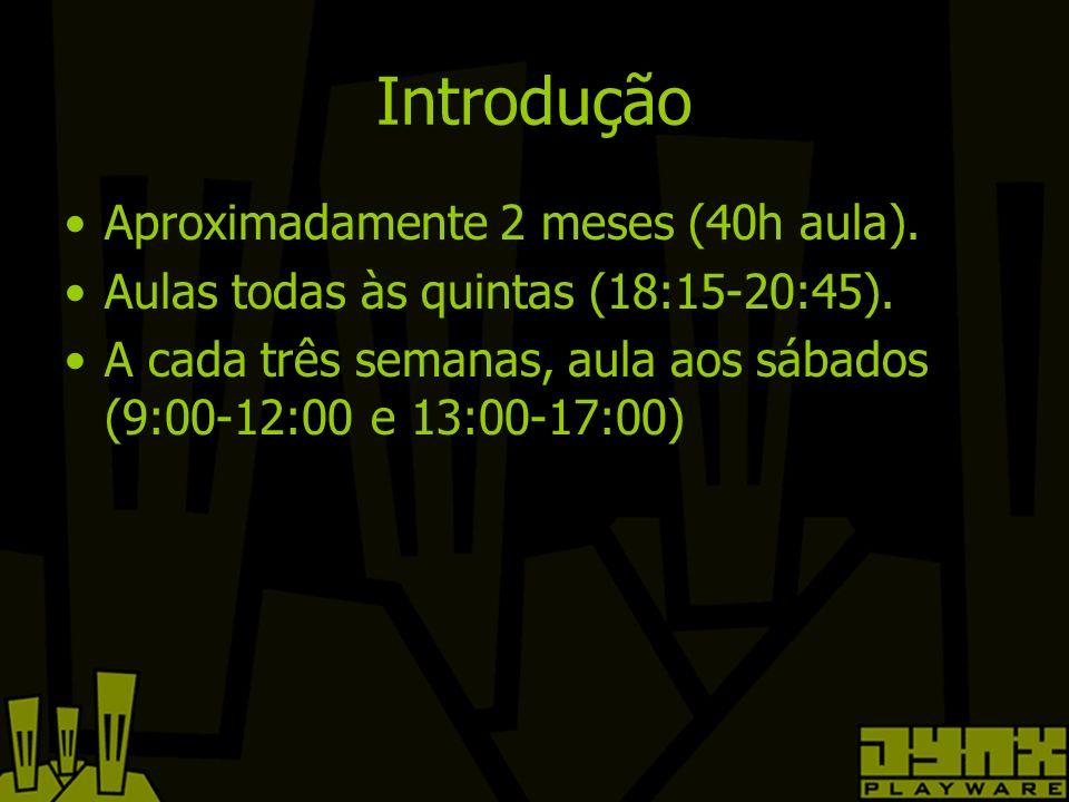 Introdução Aproximadamente 2 meses (40h aula). Aulas todas às quintas (18:15-20:45).