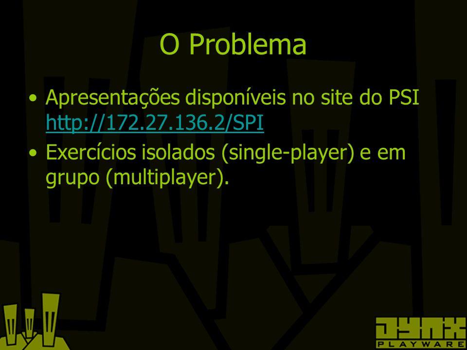 O Problema Apresentações disponíveis no site do PSI http://172.27.136.2/SPI http://172.27.136.2/SPI Exercícios isolados (single-player) e em grupo (multiplayer).