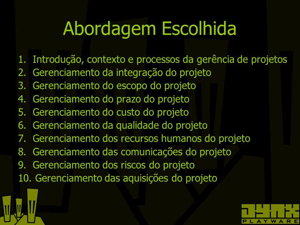 Abordagem Escolhida 1. Introdução, contexto e processos da gerência de projetos 2.
