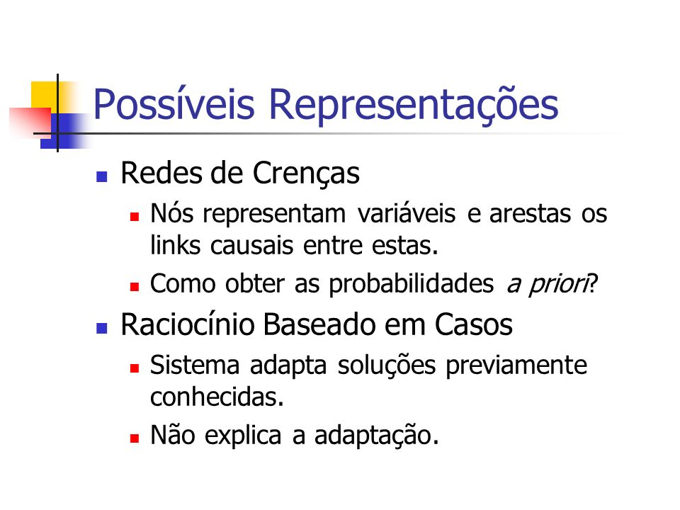 Possíveis Representações Redes de Crenças Nós representam variáveis e arestas os links causais entre estas.