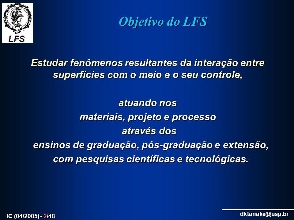dktanaka@usp.br IC (04/2005) - 3/48 Atuação Vinculação do ensino com a pesquisa valorizando a vocação para a prática da ENGENHARIA com curiosidade CIENTÍFICA.