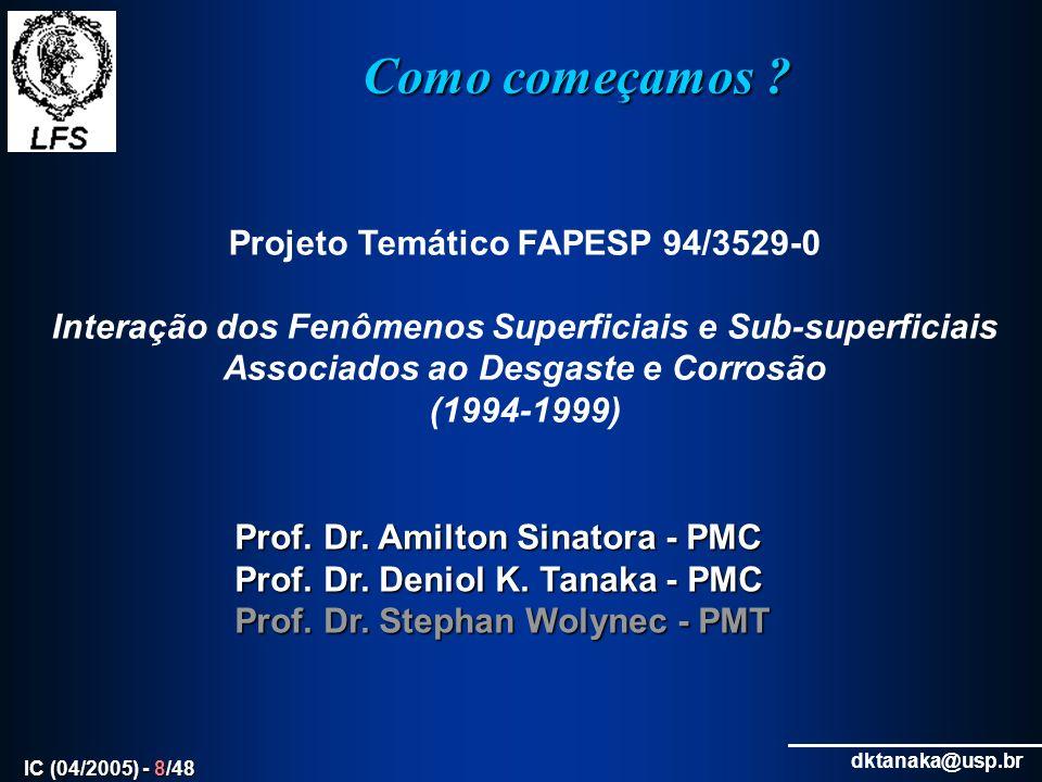 dktanaka@usp.br IC (04/2005) - 39/48 Projetos andamento - Fomento 1.(PRONEX) Estudo de fenômenos de superfície associados a filmes tribológicos (FAPESP Nº 03/10157-2) – LFS, PMT, IPT, UMC 2.Estudo da Influência das Características de Camadas Fosfatizadas nas Operações de Estampagem com e sem Lubrificantes (FAPESP 04/08042-5 ) – LFS-IPT 3.Estudo de fenômenos de superfície associados a filmes tribológicos (FAPESP 03/10157-2 ) – LFS, PMT, IPT e UMC 4.Cilindros para Melhoria de Chapas Laminadas a Quente – HIPERROL (FINEP 205604 ) – LFS, IPT, CSN, Villares, LTM-UFU, DEM-PUC/RJ 5.Materiais Avançados para Cilindros de Laminação a Quente (CNPq 400622/2004- 1) – LFS, Villares, IPT, LTM-UFU, DEM-PUC/RJ 6.Erosão de materiais utilizados na fabricação de componentes para mineração e geração de energia (CNPq-Prosul - 490316/04-2) – LFS, PMT, CNEA-Argentina, U Antiqua – Colombia, U.