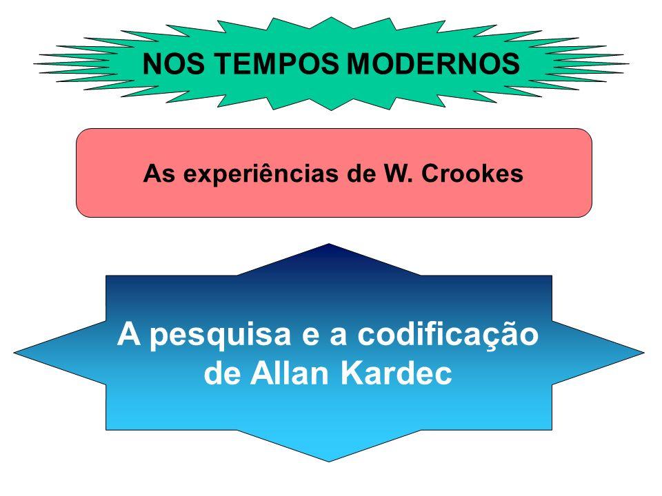 NOS TEMPOS MODERNOS As experiências de W. Crookes A pesquisa e a codificação de Allan Kardec