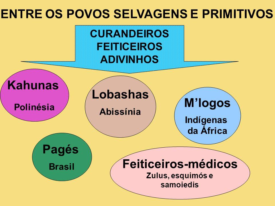ENTRE OS POVOS SELVAGENS E PRIMITIVOS CURANDEIROS FEITICEIROS ADIVINHOS Kahunas Polinésia Lobashas Abissínia Mlogos Indígenas da África Pagés Brasil F