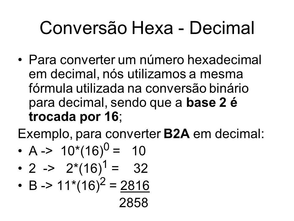 Conversão Hexa - Decimal Para converter um número hexadecimal em decimal, nós utilizamos a mesma fórmula utilizada na conversão binário para decimal, sendo que a base 2 é trocada por 16; Exemplo, para converter B2A em decimal: A -> 10*(16) 0 = 10 2 -> 2*(16) 1 = 32 B -> 11*(16) 2 = 2816 2858