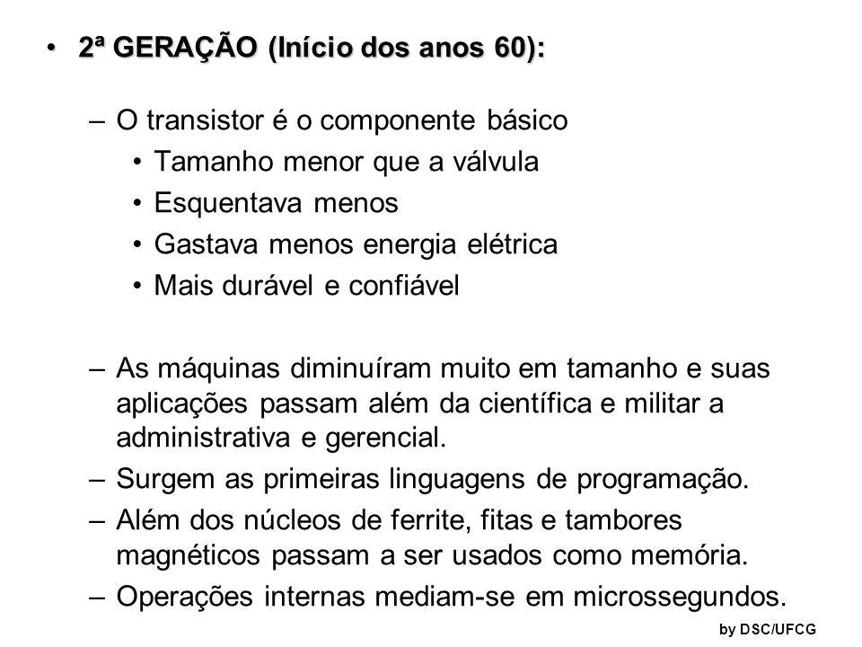 2ª GERAÇÃO (Início dos anos 60):2ª GERAÇÃO (Início dos anos 60): –O transistor é o componente básico Tamanho menor que a válvula Esquentava menos Gast
