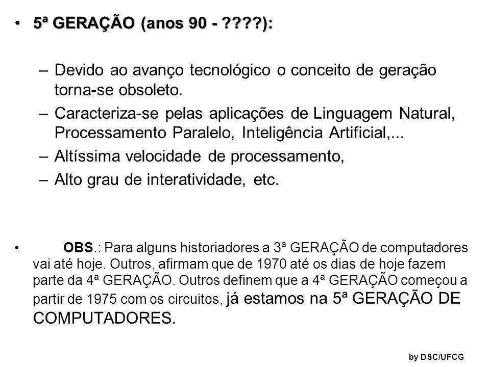 5ª GERAÇÃO (anos 90 - ????):5ª GERAÇÃO (anos 90 - ????): –Devido ao avanço tecnológico o conceito de geração torna-se obsoleto. –Caracteriza-se pelas