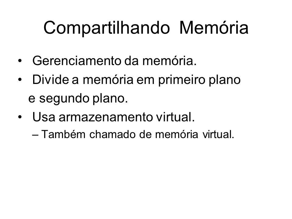 Compartilhando Memória Gerenciamento da memória. Divide a memória em primeiro plano e segundo plano. Usa armazenamento virtual. –Também chamado de mem