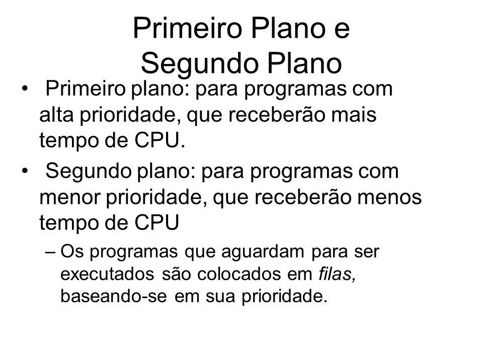 Primeiro Plano e Segundo Plano Primeiro plano: para programas com alta prioridade, que receberão mais tempo de CPU. Segundo plano: para programas com