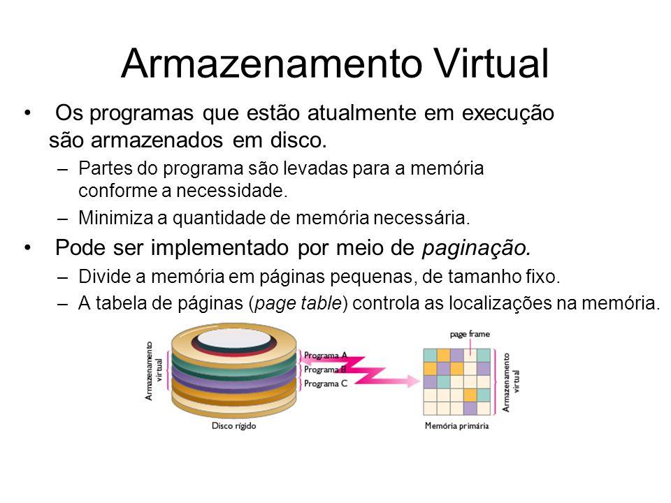 Armazenamento Virtual Os programas que estão atualmente em execução são armazenados em disco. –Partes do programa são levadas para a memória conforme