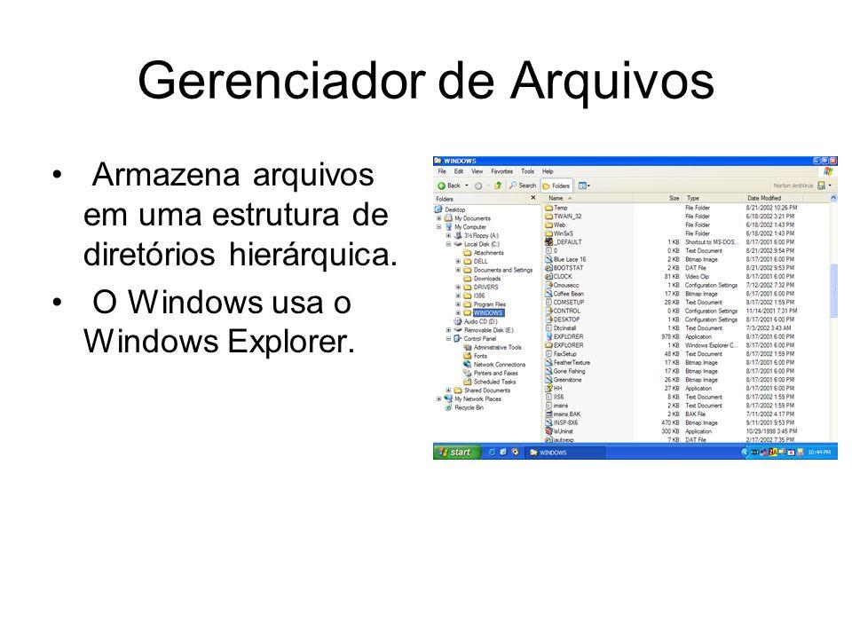 Gerenciador de Arquivos Armazena arquivos em uma estrutura de diretórios hierárquica. O Windows usa o Windows Explorer.