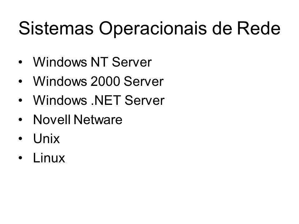 Sistemas Operacionais de Rede Windows NT Server Windows 2000 Server Windows.NET Server Novell Netware Unix Linux