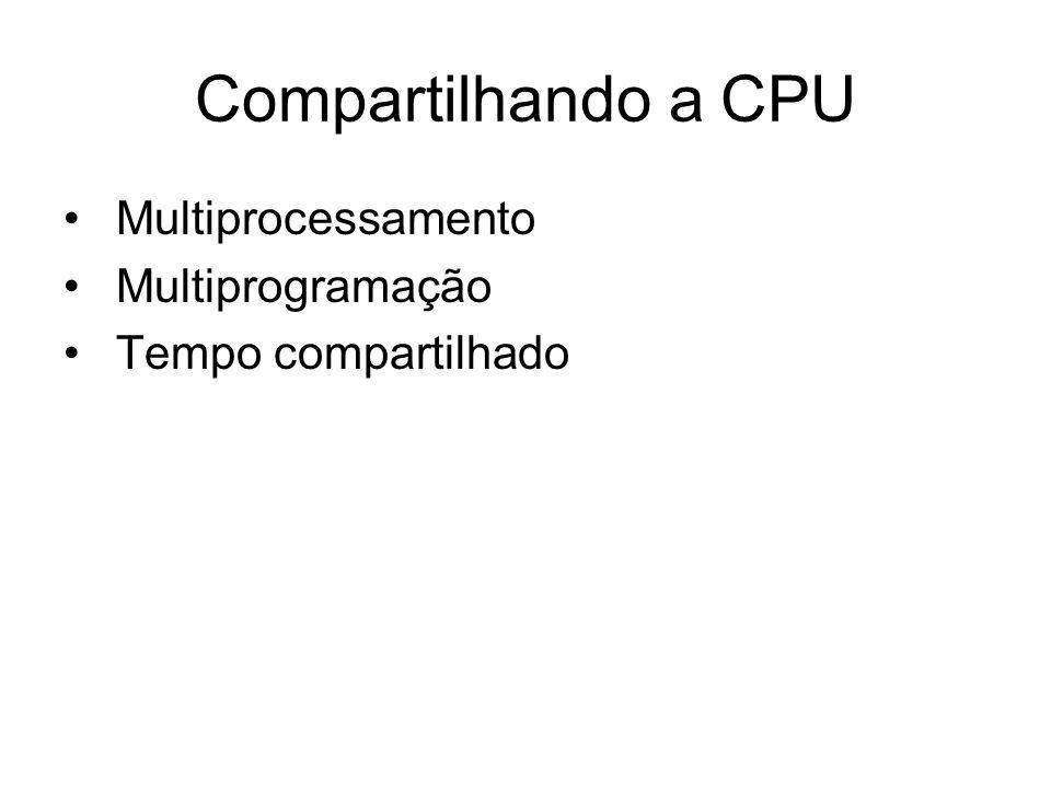 Compartilhando a CPU Multiprocessamento Multiprogramação Tempo compartilhado