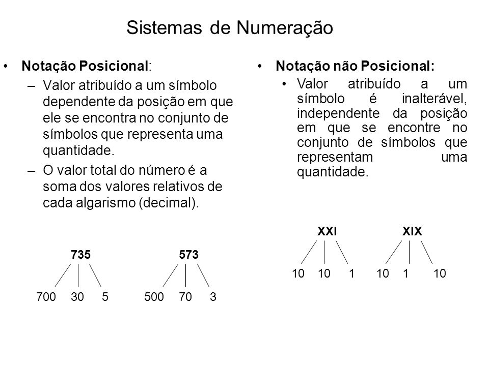 Notação Posicional: –Valor atribuído a um símbolo dependente da posição em que ele se encontra no conjunto de símbolos que representa uma quantidade.