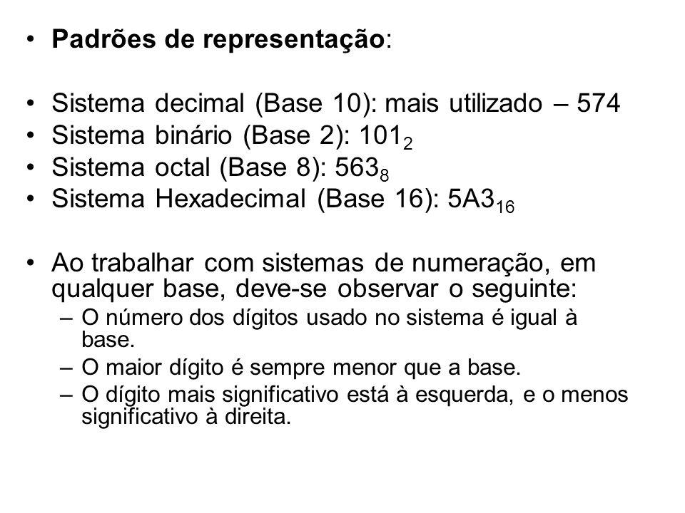 Padrões de representação: Sistema decimal (Base 10): mais utilizado – 574 Sistema binário (Base 2): 101 2 Sistema octal (Base 8): 563 8 Sistema Hexade