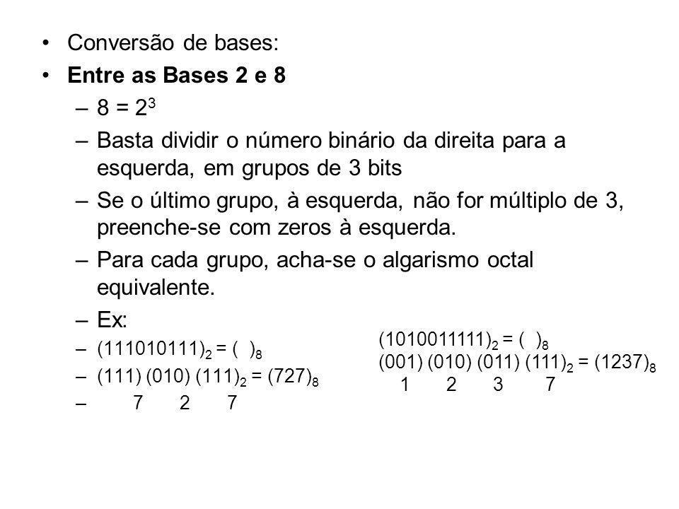 Conversão de bases: Entre as Bases 2 e 8 –8 = 2 3 –Basta dividir o número binário da direita para a esquerda, em grupos de 3 bits –Se o último grupo,