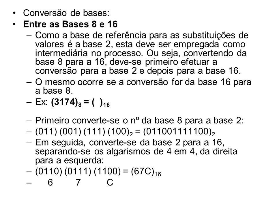 Conversão de bases: Entre as Bases 8 e 16 –Como a base de referência para as substituições de valores é a base 2, esta deve ser empregada como interme