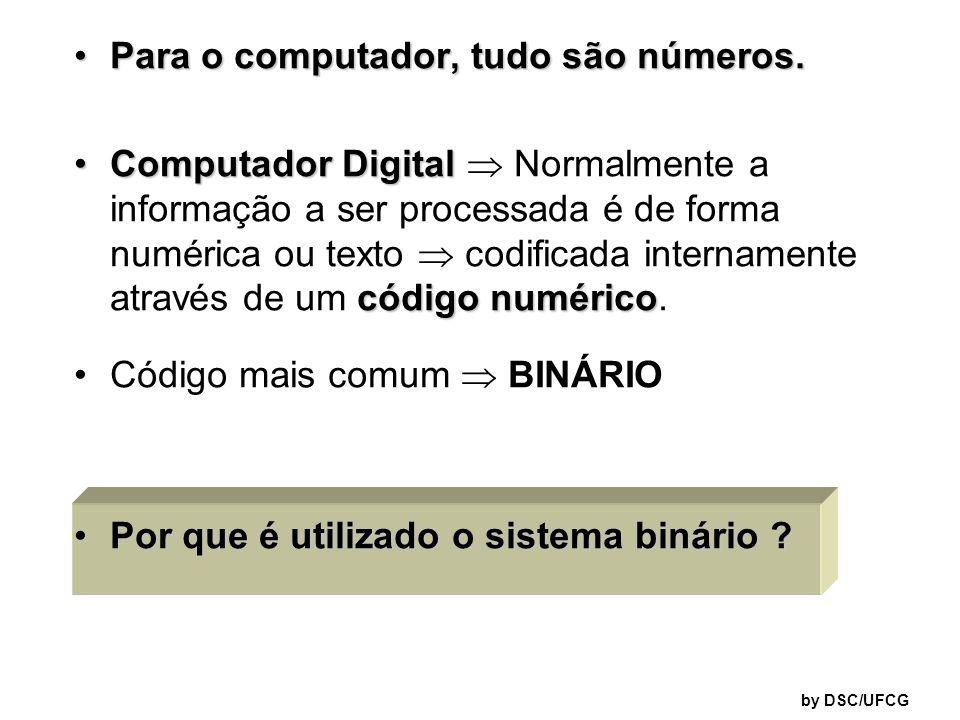 by DSC/UFCG Como os computadores representam as informações utilizando apenas dois estados possíveis - eles são totalmente adequados para números binários.
