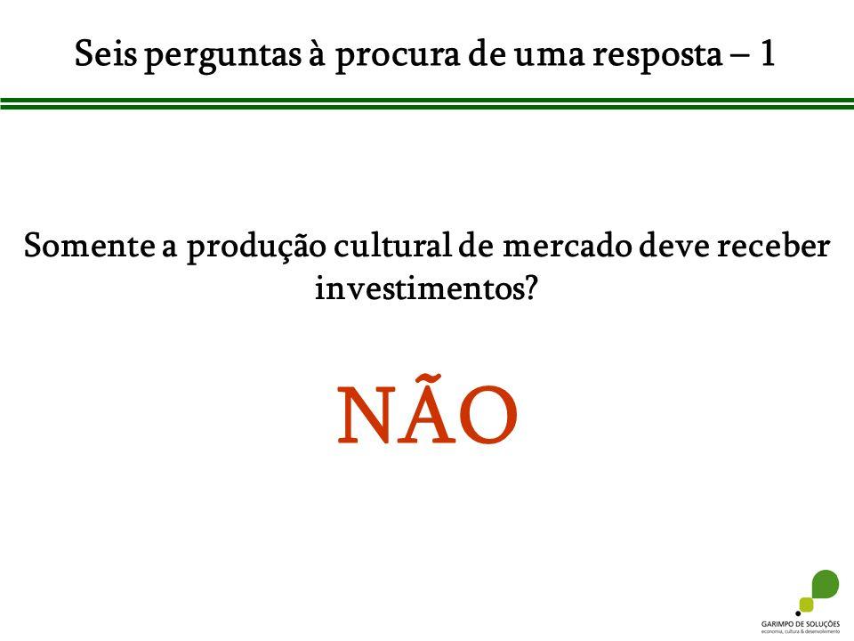 Seis perguntas à procura de uma resposta – 1 Somente a produção cultural de mercado deve receber investimentos? NÃO