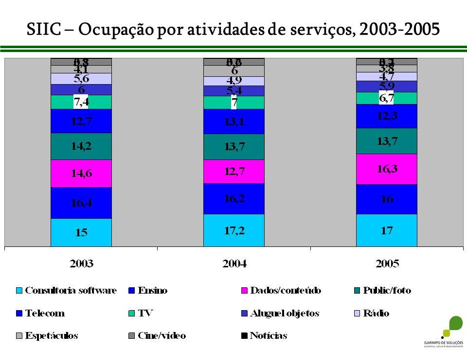 SIIC – Ocupação por atividades de serviços, 2003-2005