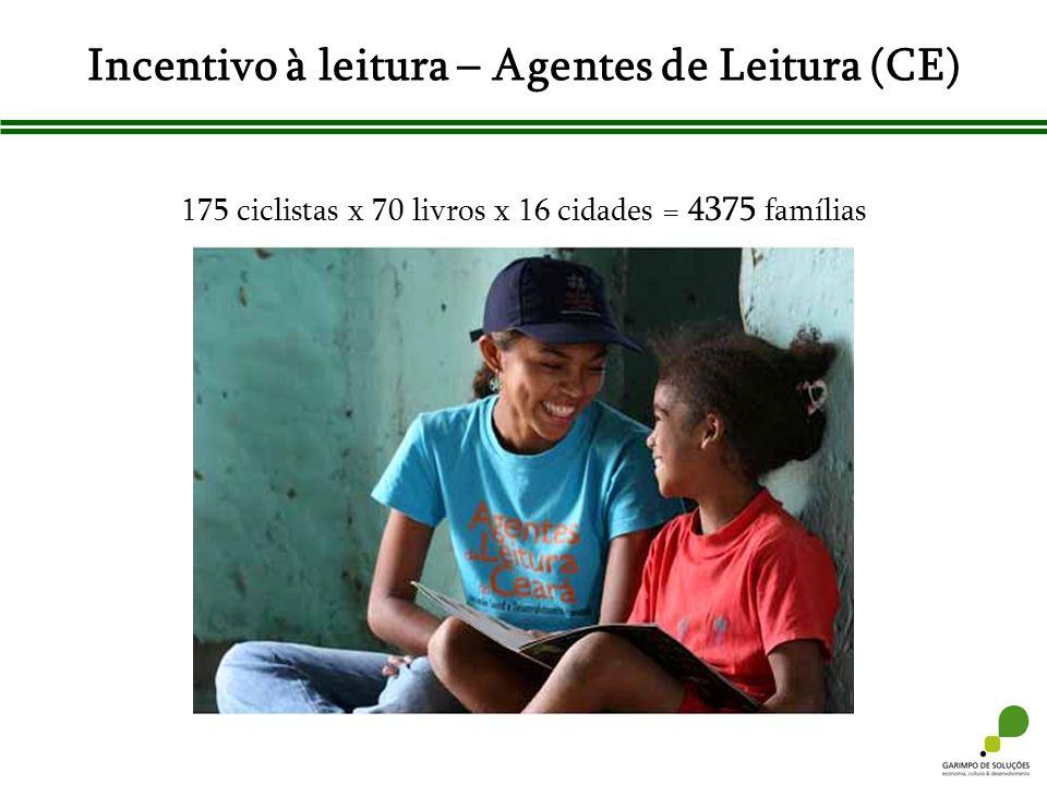 Incentivo à leitura – Agentes de Leitura (CE) 175 ciclistas x 70 livros x 16 cidades = 4375 famílias