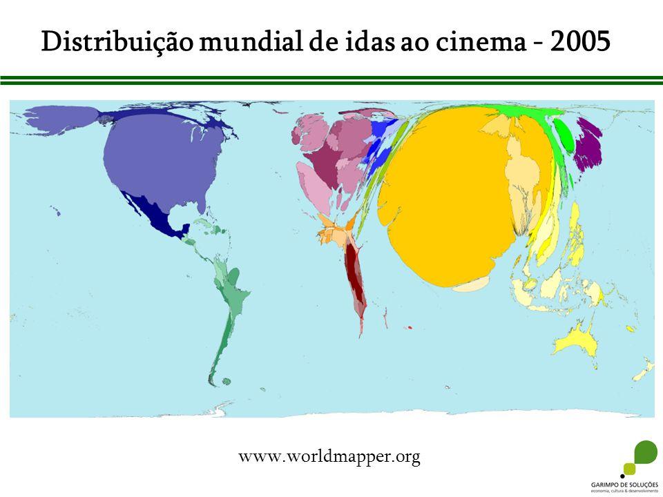 Distribuição mundial de idas ao cinema - 2005 www.worldmapper.org