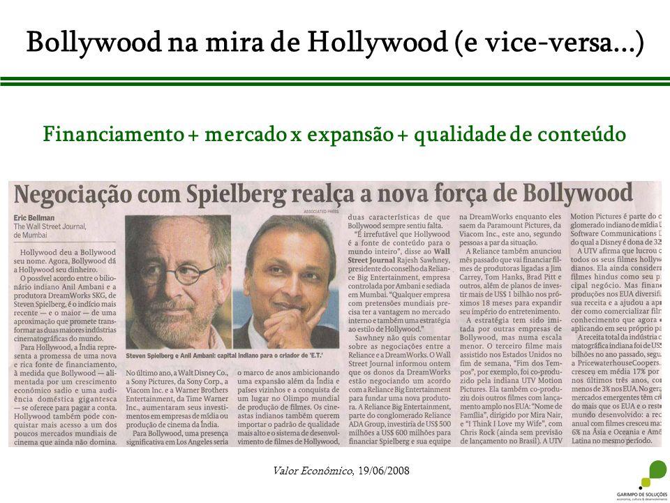 Bollywood na mira de Hollywood (e vice-versa...) Valor Econômico, 19/06/2008 Financiamento + mercado x expansão + qualidade de conteúdo