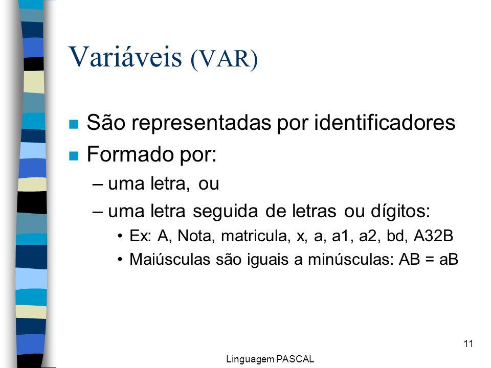 Linguagem PASCAL 11 Variáveis (VAR) n São representadas por identificadores n Formado por: –uma letra, ou –uma letra seguida de letras ou dígitos: Ex: