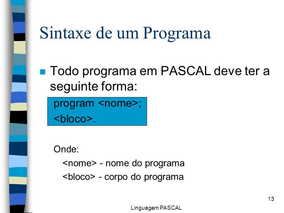 Linguagem PASCAL 13 Sintaxe de um Programa n Todo programa em PASCAL deve ter a seguinte forma: program ;. Onde: - nome do programa - corpo do program