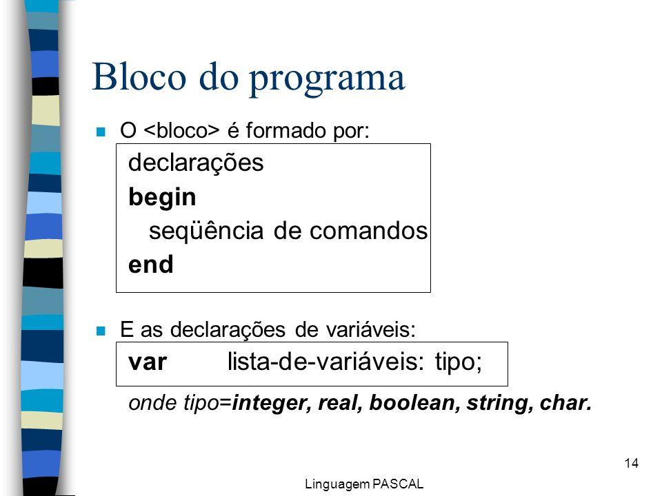 Linguagem PASCAL 14 n O é formado por: declarações begin seqüência de comandos end n E as declarações de variáveis: var lista-de-variáveis: tipo; onde