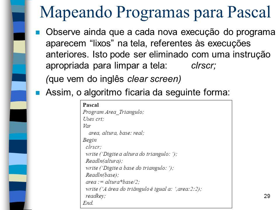 Linguagem PASCAL 29 n Observe ainda que a cada nova execução do programa aparecem lixos na tela, referentes às execuções anteriores. Isto pode ser eli