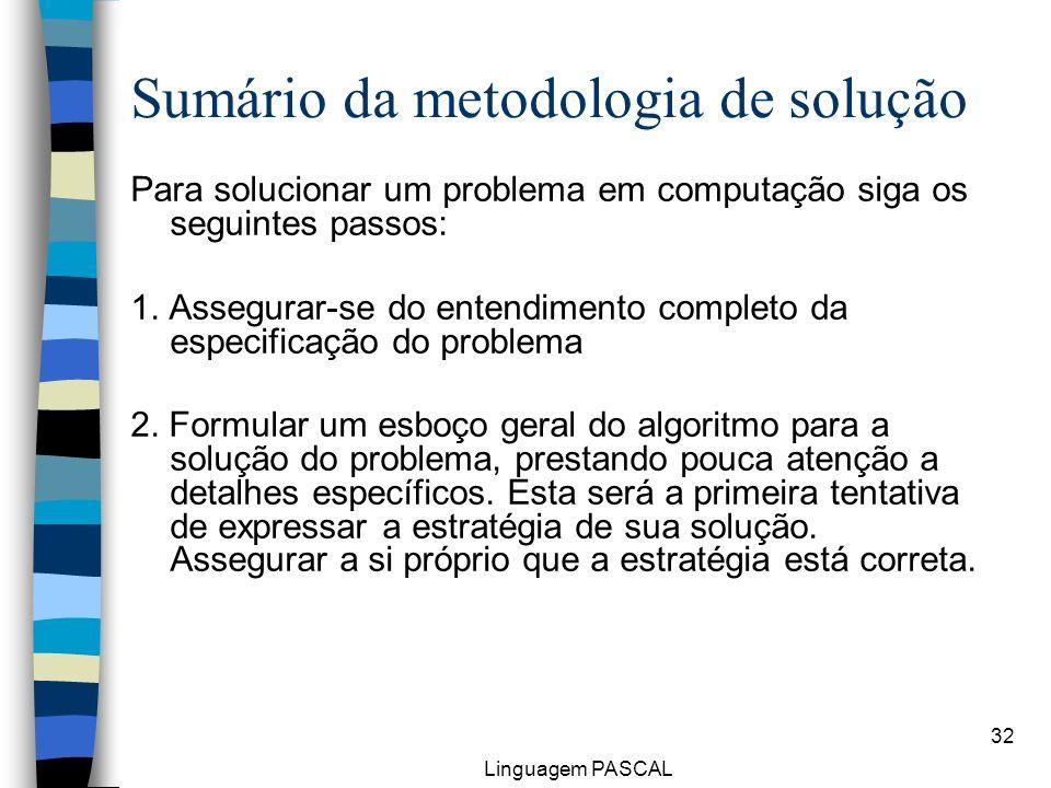 Linguagem PASCAL 32 Sumário da metodologia de solução Para solucionar um problema em computação siga os seguintes passos: 1. Assegurar-se do entendime