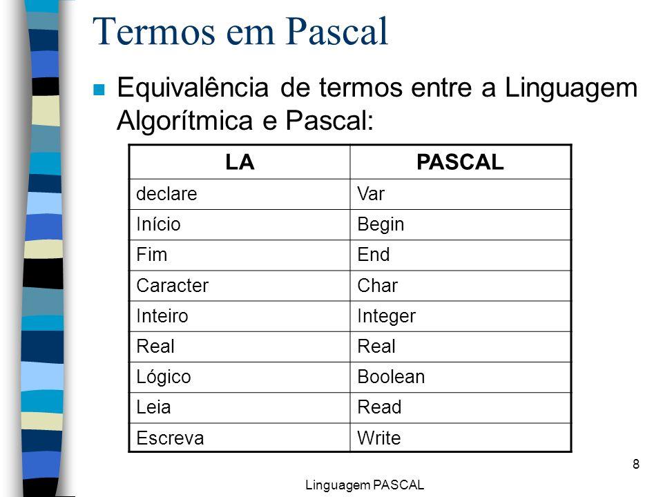 Linguagem PASCAL 8 n Equivalência de termos entre a Linguagem Algorítmica e Pascal: Termos em Pascal LAPASCAL declareVar InícioBegin FimEnd CaracterCh