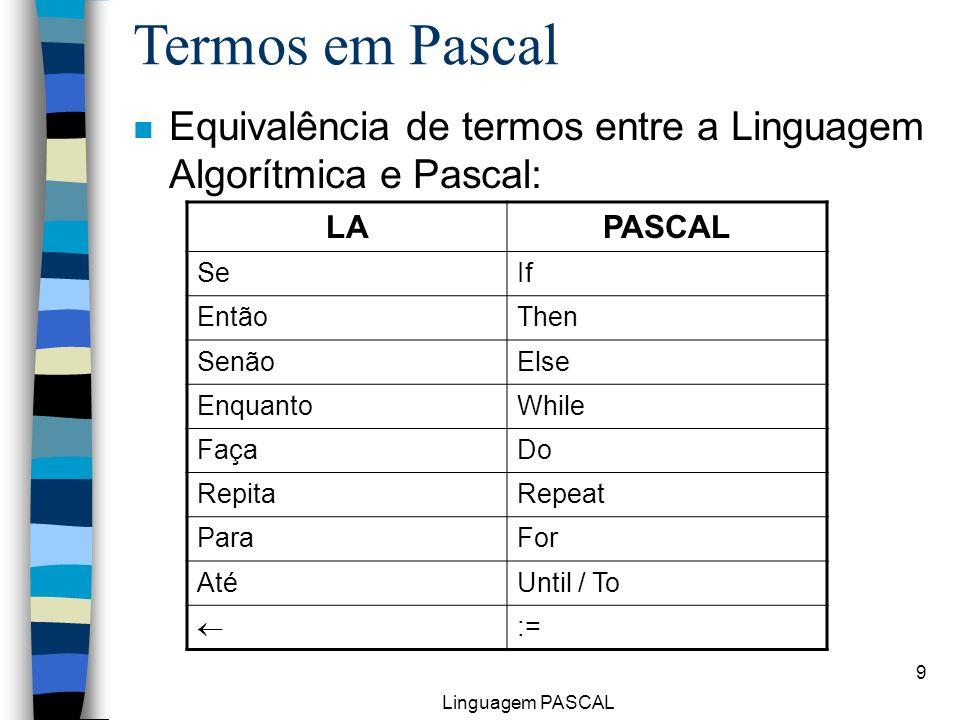 Linguagem PASCAL 9 n Equivalência de termos entre a Linguagem Algorítmica e Pascal: Termos em Pascal LAPASCAL SeIf EntãoThen SenãoElse EnquantoWhile F