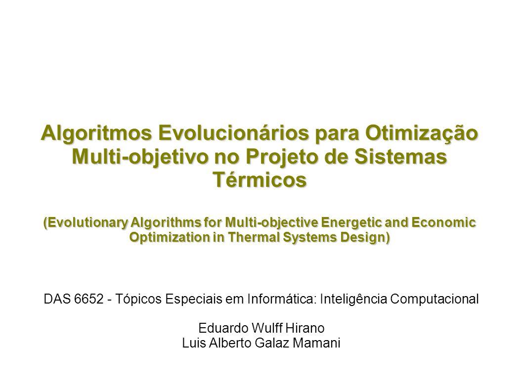 Algoritmos Evolucionários para Otimização Multi-objetivo no Projeto de Sistemas Térmicos (Evolutionary Algorithms for Multi-objective Energetic and Ec
