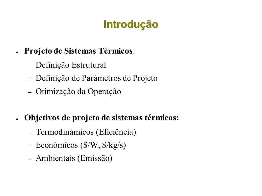 Introdução Projeto de Sistemas Térmicos: – Definição Estrutural – Definição de Parâmetros de Projeto – Otimização da Operação Objetivos de projeto de